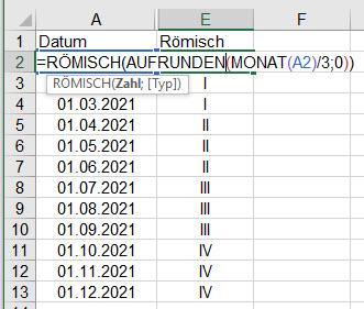 Excel – Quartal als römischeZahl