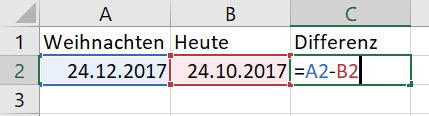Excel – In wieviel Tagen istHeiligabend?