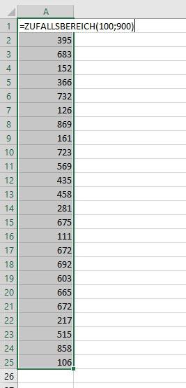 Excel–Zufall für Zahlen, Datum, Buchstaben (1 von3)