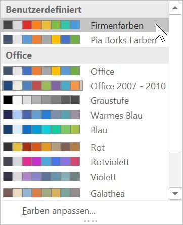 Office – Firmenfarben