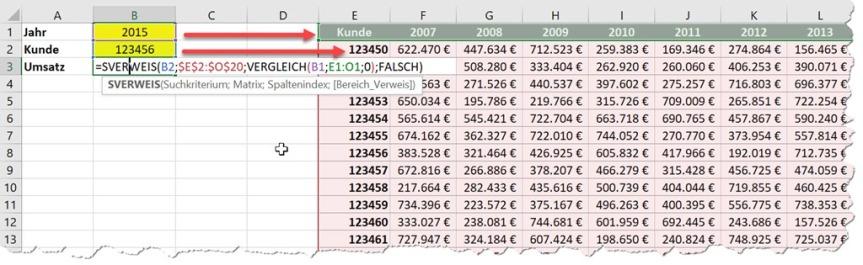 Excel – SVERWEIS sucht Spaltennummerselber