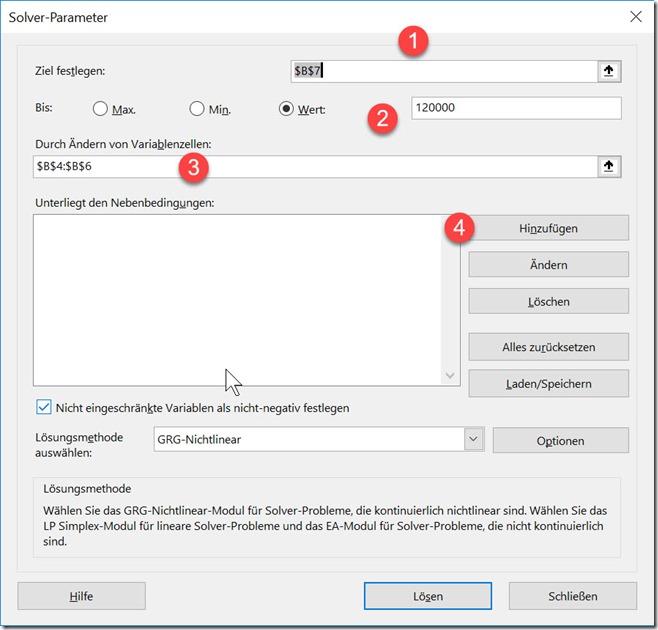 Excel – Lösungen suchen (1 –2)