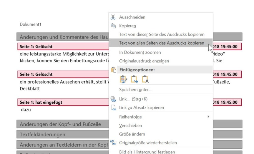 Word – Markupliste als Text