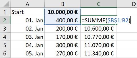 Excel – KumulierteSumme