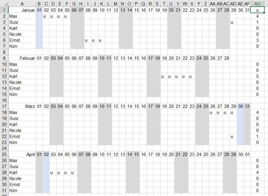 Excel – Urlaubsliste(1-2)