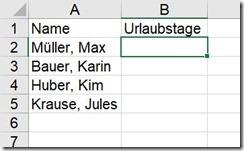 Excel – Urlaubsliste(2-2)