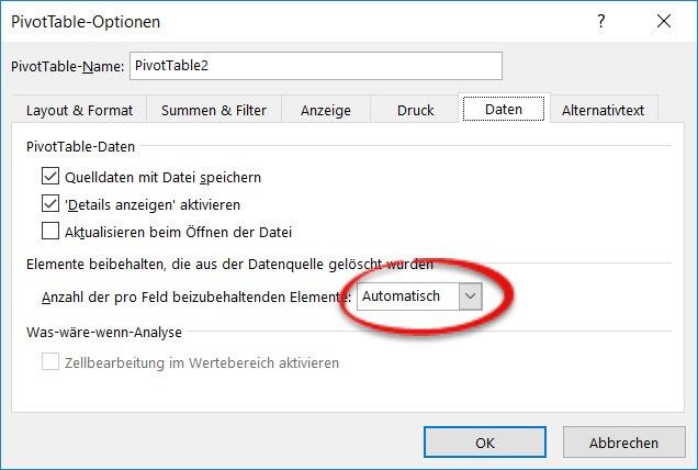 Excel – Pivot-Tabelle Filter mit altenDaten