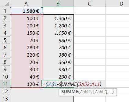 Excel – Aktuellen Kontostandanzeigen