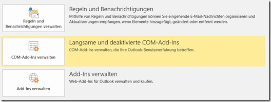 Outlook – welches Addins macht Probleme?