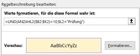 Excel – Zwei Bedingungen für bedingtesFormat