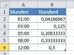 Excel – Zeit in dezimalerSchreibweise