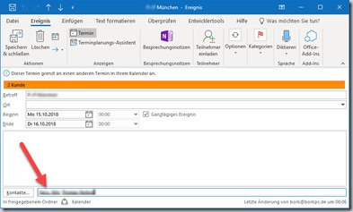 Outlook–Kontakte und andereElemente