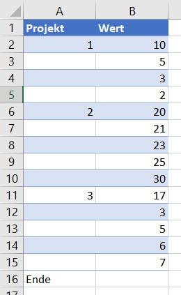 Excel – Auswerten beiLücken