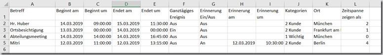 Excel-Tabelle mit Terminliste