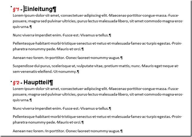 Ziffer anders formatiert als Text der Überschrift