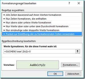 Formel für Suche in der Formatierungsregel