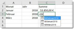 Excel – Rechnen mit formatierterTabelle