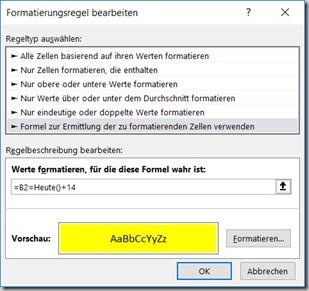 Excel – Bedingte Formatierung für Datum(2)