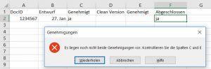 Excel – Eintragen erst, wenn in B1 wassteht