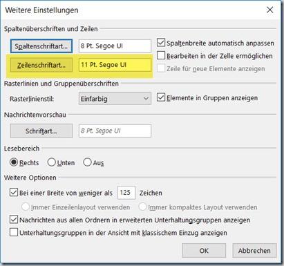 Outlook – Schriftgröße imPosteingang