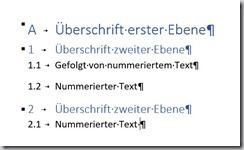 Word – Nummerierung Überschrift undText