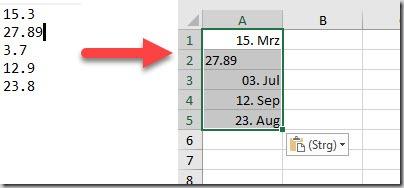 Excel–Text übernehmen