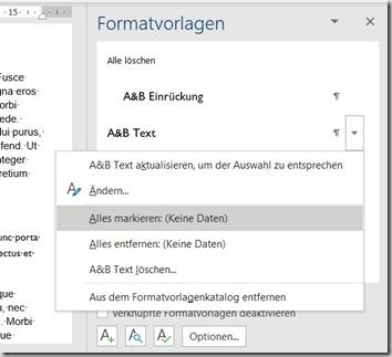 Word – Formatvorlagen markieren undersetzen