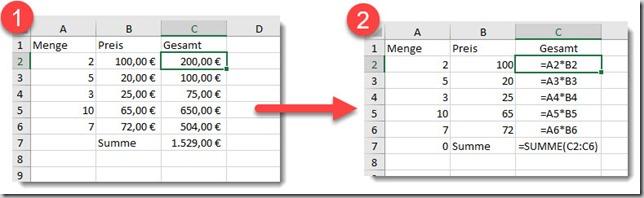 Excel–Formeln auf zweitem Blattausgeben