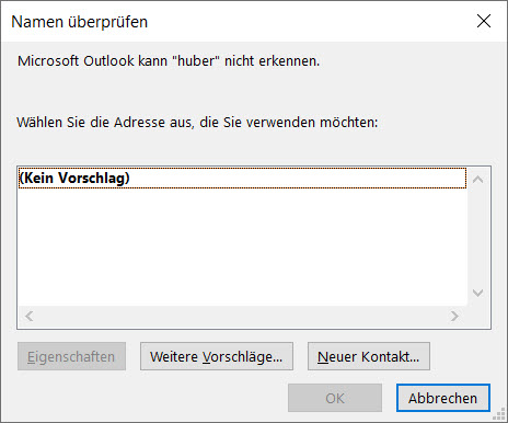 Outlook – Mailanschrift wird nichtgefunden