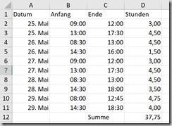 Excel–Stundenaufschrieb