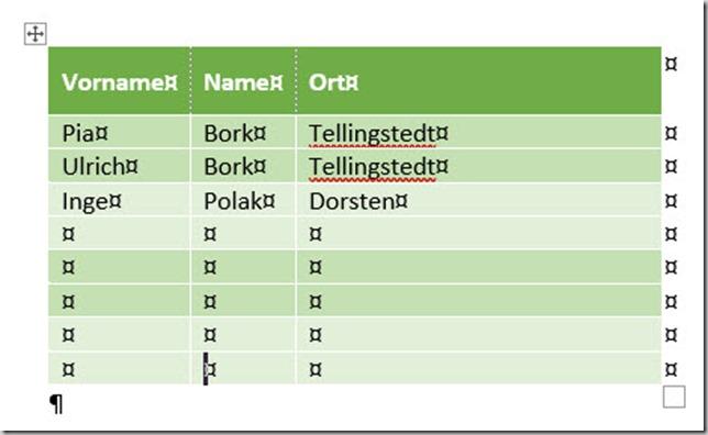 Word–Tabellenformatvorlage anpassen (2/2)