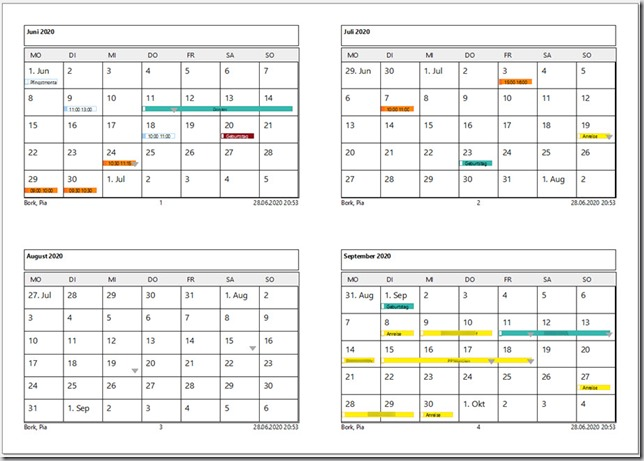 Outlook–Kalender drucken