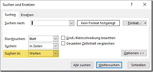 Excel–Suche in Formeln oderWerten