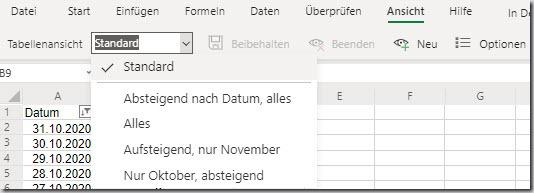 """Excel–Ansicht """"Tabellenansicht"""""""